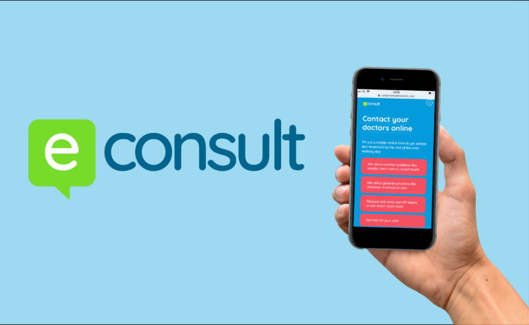 eConsult Logo and mobile phone displaying service